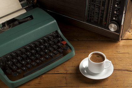 typewriter with turkish coffee and radio